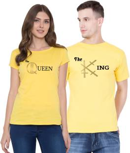 90de7a5a3fe151 Valore Solid Men & Women Round Neck Black, Yellow T-Shirt - Buy ...