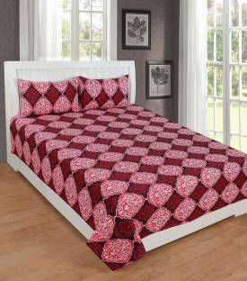 KD SALES 200 TC Polycotton Double Geometric Bedsheet