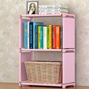 FurnCentral Metal Open Book Shelf   Finish Color   Pink