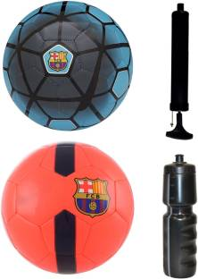 ff64c5637a389d SportsCorner Combo of FCB Blue + Orange Football (Size-5) with Air Pump