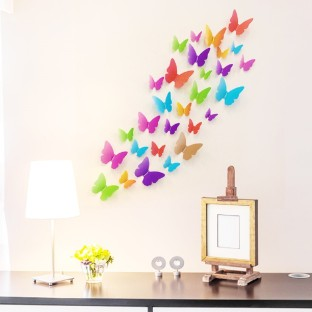 Sweet delightful Butterflies set of 18 stickers durable vinyl wall stickers NEW