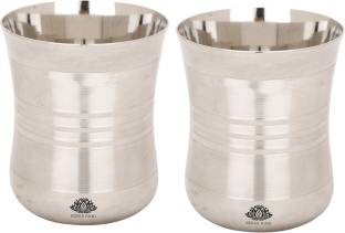 KESAR KUNJ (Pack of 2) Stainless Steel Glass Tumbler 400ml Glass Set