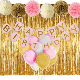 Theme My Party Pink And Gold Birthday Decorations With Banner Balloons Tissue Flowers Fringe Curtain