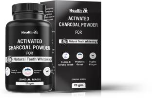 best sneakers b1e80 cd8c7 HealthVit Coconut Shell Activated Charcoal Instant Teeth Whitening Powder