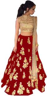 68cfcddc19 Parvati Fabrics Self Design Lehenga Choli - Buy Off White,Rani ...