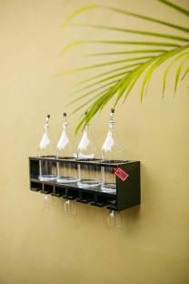 Onlineshoppee 4 Bottle Rack Wooden Wall Shelf