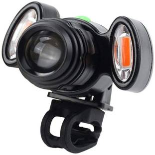 SHIVEXIM Bicycle Zoom-able Feature 4 Mode LED Bicycle Headlight Focus Front Light with 2 warning lights LED Front Light