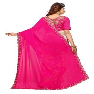 91cac2c93ce9 Buy Shri Prem Saree Embroidered Fashion Georgette Blue Sarees Online ...