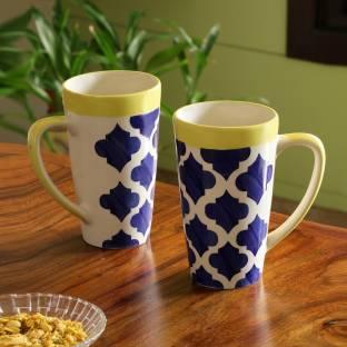 2b2e6145352 ExclusiveLane 'Drinks at Sea' Handpainted Milk Glasses Beer Ceramic Mug
