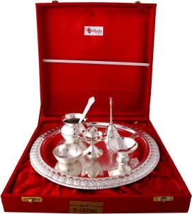 Shreeng silver plated set of 12 lotus flower diyas 12 pcs stainless giftadia brass pooja thali set puja thali set pooja diya pooja plate br008 brass pooja mightylinksfo