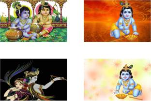Lord Krishna Combo Poster Set Of Four Posters Bal Krishna Poster God Krishna Poster Radhe Krishna Poster Paper Print Religious Art Paintings Posters In India Buy