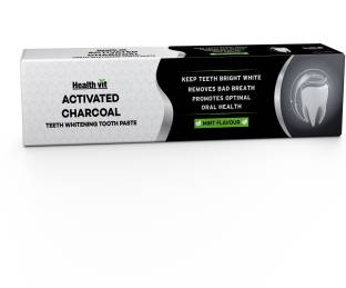 HealthVit Activated Charcoal For Teeth Whitening, Best Natural Whitener, Fluoride Free, Sulfate Free Mint Flavour Toothpaste
