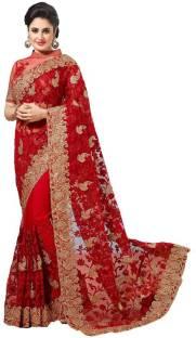 Buy Nirjas Designer Embroidered Bollywood Cotton Pink Green Sarees