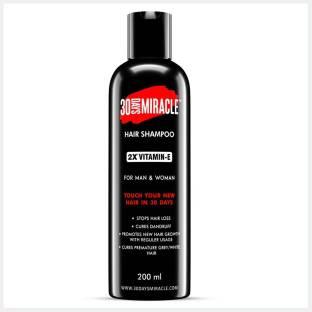 30 DAYS MIRACLE 2X Vitamin-E Hair Shampoo 200ml. Anti Hair Fall | Anti Dandruff | Promotes New Hair Growth & Cures Premature Greying. For Man & Woman.