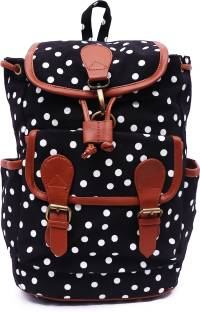 Suprino Women and girls Canvas Polka Dot Printed Black back Pack 15 L  Backpack fbcfbe6d7b7e4