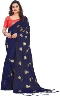 Buy Dharohar Embroidered Fashion Silk Dark Blue Sarees Online Best