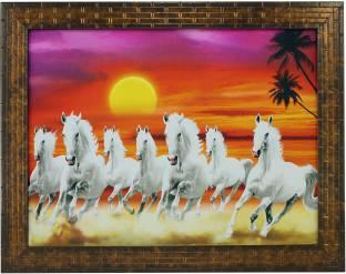 Indianara Indr SEVEN HORSES (1569) Digital Reprint 10.6 inch x 13 inch Painting