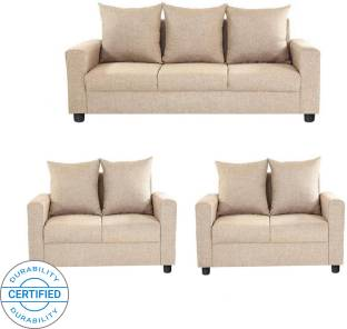 c866d65ec4 GIOTEAK Fabric 3 + 2 + 2 Brown Sofa Set Price in India - Buy GIOTEAK ...