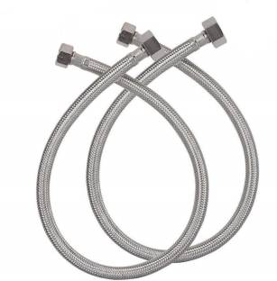 PESCA Pack of 2 24 Inches Connection Pipe, 304 Grade Stainless Steel, Female Straight Thread Faucet Hose Replacement 1/2 inch diameter Hose Pipe
