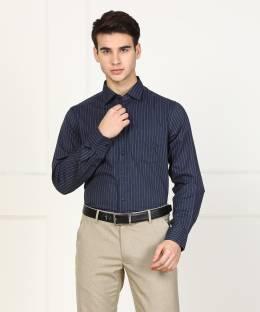 5d69bfd3ffa Mast & Harbour Men's Striped Casual Dark Blue Shirt - Buy Dark Blue ...
