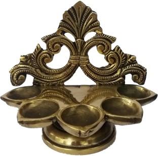 Aakrati Wick Brass Table Diya Peacock Oil Lotus Puja Home D/écor Gift AA3557YA