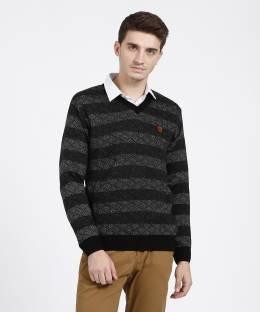 Duke Striped V-neck Casual Men Black Sweater ad8b6a886