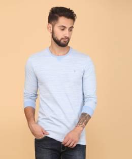 a9d5e5f1fb499e United Colors of Benetton Self Design Men's Round Neck Blue T-Shirt
