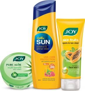 Joy Hello Sun SunBlock & Anti-tan Lotion SPF20- 300ml + Pure Aloe Multi Benefit Skin Cream-200ml + Skin Fruits Spots & Tan Clear Papaya Face Wash 100ml
