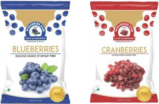 WONDERLAND Blueberries & Sliced Cranberries Dried Fruits Combo Pack of 2 (350g) Blueberry, Cranberries