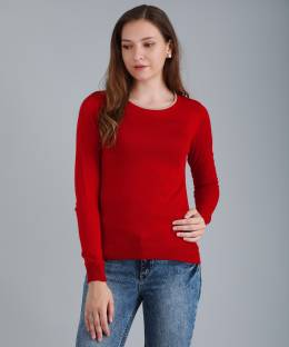 c901fd74959 Madame Solid Round Neck Casual Women Red Sweater - Buy Red Madame ...