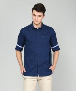 512bc76438da Daagwood Men's Self Design Casual Blue Shirt - Buy Daagwood Men's ...