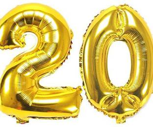 Teple Printed 17 Inch Number 20 Foil Balloons Kids Party Supplies