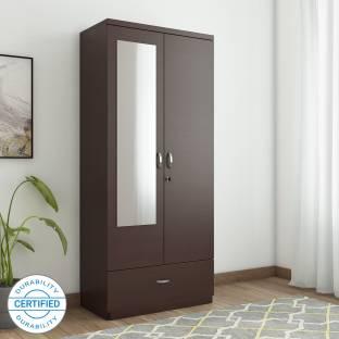 HomeTown Utsav Engineered Wood 2 Door Wardrobe Finish Color   Wenge, Mirror Included
