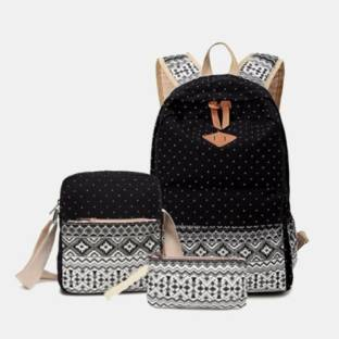 ffe5f0be74 Lacira PRINTED CANVAS BACKPACK (SET OF 3) BLACK 35 L Laptop Backp.