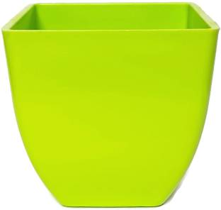Rgdecor Decorative And Durable 1 Green Colour Pearl Square Pot Side 5 Inch Height