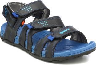 ba7ddb2a59eb3d Sparx Men Black Royal Blue Sports Sandals