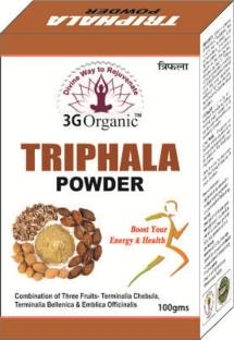 3G Organic Triphala Powder Organic Pure Pulp Powder of All 3 Fruits 100 Gms