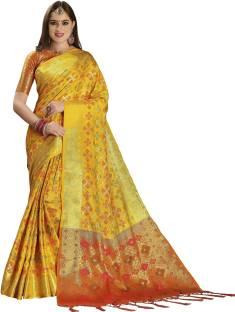 a161ca40de Buy EthnicJunction Printed Patola Silk Linen Blend Multicolor Sarees ...