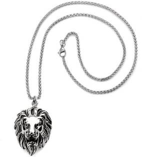 Men Style Gothic And Biker Look Punk Animal Lion Head With Box Chain Stainless Steel Pendant