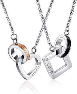 2567cc7f1f Sansar India Titanium Stainless Steel Valentine Couple Lovers Silver Zircon  Alloy Pendant