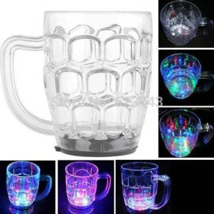 FTAFAT Inductive Rainbow Color Cup LED Flashing 7 Color Changing Light. Pour Water or Tea, Lighting Cup, Easy battery replace Glass Beer Mug