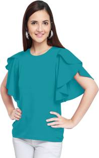 07744dbac92 Oomph! Casual Butterfly Sleeve Solid Women s Pink Top - Buy Oomph ...