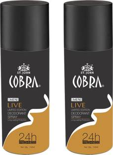 32c02dc5aef7 VI-JOHN Cobra Men Deodrant LIVE Limited Edition Spray 150ml Pack of 2 Body  Mist