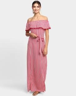 1d0aa26e9f90 Haute Curry by Shoppers Stop Women s Maxi Maroon Dress - Buy Maroon ...
