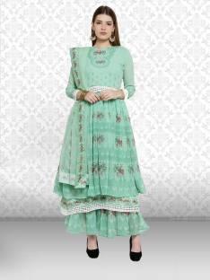 d5222de703 Divastri Georgette Floral Print Semi-stitched Salwar Suit Dupatta Material