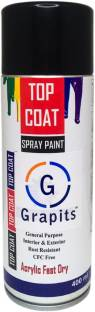 Grapits General Purpose Interior and Exterior Spray Paint (Gloss Black) Gloss Black Spray Paint 400 ml