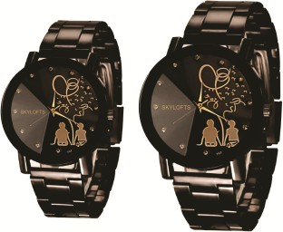 Skylofts Black Dial Stainless Steel Chrome Plated Couple Watches for Men u0026 Women Analog Watch -  sc 1 st  Flipkart & Wedding Gifts - Buy Wedding Anniversary Gifts for Friends Couple ...