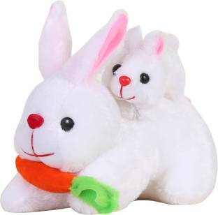 7499a07aa669 MSFI Mother Rabbit With Baby Rabbit   Carrot - 26 cm (White) Premium Quality