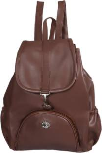 2ee7788e3f55 BLUEFUSION Brown PU Solid Casual Back Strap Backpack Bags For Gils  Women  4.5 L Backpack