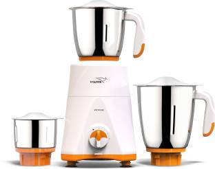 V-Guard Victo with 100% Copper Winding Motor 550 W Mixer Grinder (3 Jars, White, Orange)